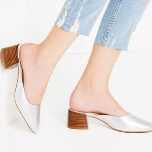 Zara Metallic Silver Leather Mules—Worn only once!